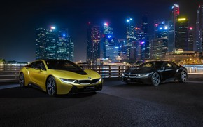 Picture night city, BMW i8, Frozen Yellow Edition