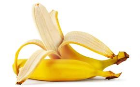 Picture bananas, white background, fruit, yellow, peel