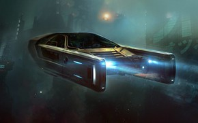 Picture Auto, Night, Figure, Machine, Police, Light, Rain, Movie, Art, Art, The film, Fiction, Blade Runner, …
