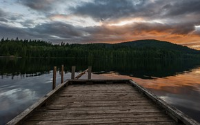 Picture forest, the sky, clouds, sunset, clouds, lake, reflection, shore, Board, view, the evening, Canada, pierce, …