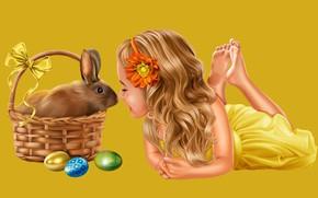 Picture joy, basket, eggs, rabbit, Easter, girl, bow