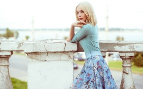Picture look, skirt, Girl, blonde, Andrey Firsov