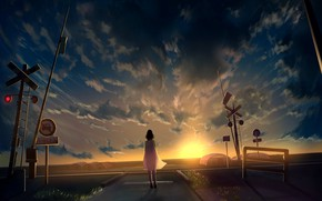 Picture the sky, girl, sunset, signs, greenhouses, railway crossing