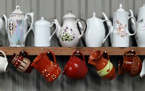 Picture interior, Cup, dishes, kettles