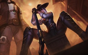 Picture Girl, Figure, Look, Girl, Hat, Blizzard, Gun, Art, Art, Fiction, Game, Illustration, Ashe, Weapon, Character, …