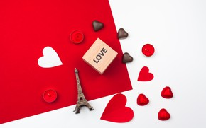 Picture box, candy, hearts, Eiffel tower, chocolate