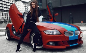 Wallpaper girl, hair, BMW, glasses, hairstyle, sitting, Daria Kudelko, Darya Kudelko, Max Field He