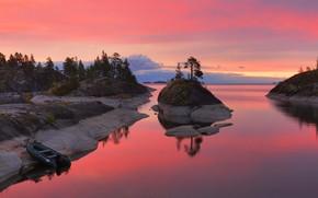 Picture trees, sunset, lake, boat, Maxim Evdokimov