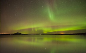 Picture stars, reflection, Northern lights