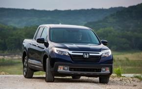 Picture Honda, front view, pickup, dark blue, Ridgeline, 2019