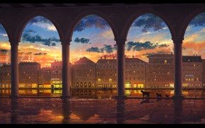 Wallpaper the sky, water, cats, sunset, the city
