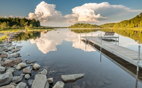 Picture forest, summer, the sky, clouds, bench, lake, reflection, stones, relax, shore, shop, the bridge, bridges, …