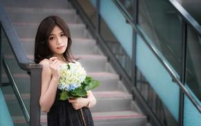 Picture girl, flowers, bouquet, Asian, cutie