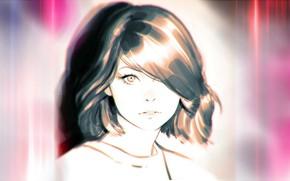 Picture face, haircut, bangs, portrait of a girl, Ilya Kuvshinov