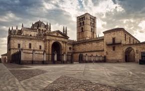 Wallpaper the sky, clouds, area, Church, temple, Spain, Catedral de Zamora