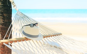 Picture sand, sea, wave, beach, summer, stay, vacation, hat, glasses, relax, hammock, summer, beach, sea, blue, …