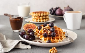 Picture coffee, chocolate, Breakfast, grapes, waffles, figs