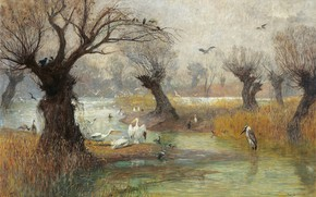 Picture Austrian painter, oil on canvas, Pelicans on the river, Hugo Charlemont, Pelicans on the Riverbank, …