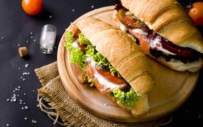 Picture vegetables, filling, croissants