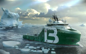 Picture Sea, Ice, Iceberg, The ship, Rendering, Arctic, Side view, Bourbon, Vessel, AHTS, Offshore, Anchor Handling …