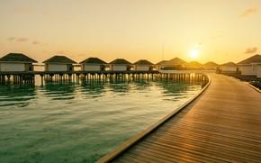 Picture the sun, landscape, sunrise, island, The sky, Nature, Beach, Summer, Houses, the Maldives, Landscape