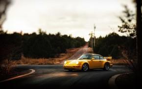 Picture Auto, Yellow, 911, Porsche, Machine, Light, Lights, Porsche 911, Carrera, 1993, Porsche 911 Carrera, 911 …