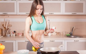 Picture girl, pose, model, food, figure, press, fitness, cooking, abs, fitness food