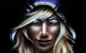 Picture look, girl, portrait, hood, World Of WarCraft