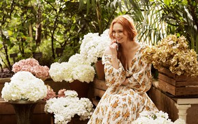 Picture girl, flowers, smile, dress, hydrangeas, Eleanor Tomlinson
