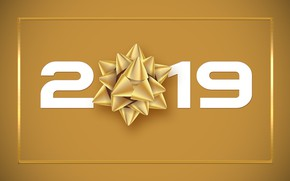 Picture background, figures, New year, bow, 2019