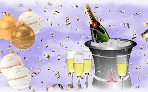 Picture New year, Szampan, Sylwester, Kieliszki
