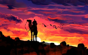 Picture sunset, silhouette, camel