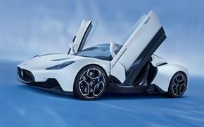 Picture Maserati, blue background, exterior, 2022, sports coupe, rapid forms, Maserati MC20 Coupe