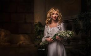 Picture girl, flowers, hair, dress, blonde, shoulders, Alisa, Alisa Tarasenko, Alexander Drobkov-Light