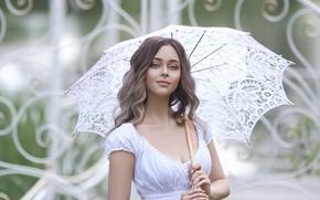 Picture girl, umbrella, dress, Rus, Irina Golubyatnikova