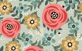 Picture flowers, background, texture, decor