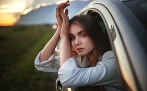 Picture look, girl, sunset, nature, window, brown hair, car, Alexey Yuriev