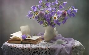 Picture flowers, chamomile, scarf, book, hat, pitcher, still life, bells, table, napkin, Kovaleva Svetlana