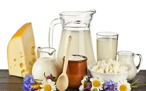 Picture food, Breakfast, milk, Chamomile, Spoon, wood, Cornflowers, cheese, Pitcher