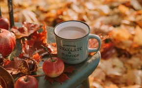 Picture autumn, leaves, Apple, mug, Cup, drink, chestnut, cocoa