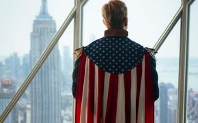 Picture USA, flag, superhero, serial, Amazon, The Boys, Homelander, Anthony Starr
