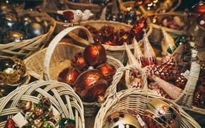 Picture winter, balls, holiday, Shine, Christmas, red, New year, a lot, different, shop, bokeh, Christmas decorations, …
