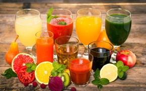 Picture leaves, raspberry, lemon, Apple, orange, kiwi, glasses, pear, glasses, drinks, bokeh, juices, grapefruit, beets