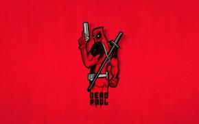 Picture Minimalism, Minimal, Deadpool, Deadpool, Red background