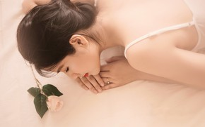 Picture girl, rose, Asian