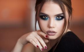 Picture look, face, background, model, hand, portrait, makeup, manicure, Mozhayskiy Julia (Julia Catarina), Galina Alekseeva