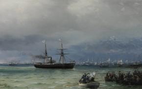Picture picture, seascape, Ivan Aivazovsky, 1892, Ship Help