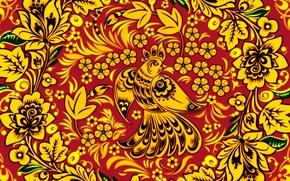 Wallpaper Flowers, Bird, Style, Painting, Art, Khokhloma, Khokhloma painting, madeinkipish, Ivan Ivanovich, Russian painting