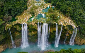 Picture open, waterfall, Mexico, Tamul