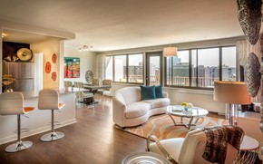 Picture interior, living room, dining room, Apartments in Arlington
